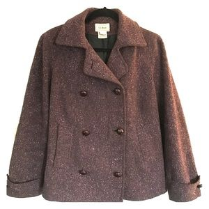 LL Bean Donegal Wool Tweed Pea Coat